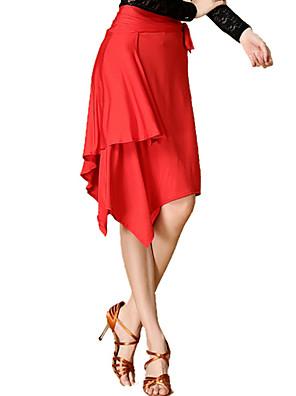 Dança Latina Saias Mulheres Actuação / Treino Náilon Chinês / Elastano Leopardo 1 Peça Saia 41-75cm