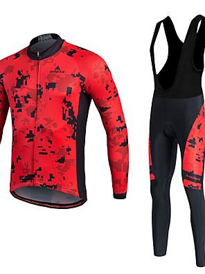 Miloto® חולצת ג'רסי וטייץ ביב לרכיבה לגברים / יוניסקס שרוול ארוך אופנייםנושם / שמור על חום הגוף / ייבוש מהיר / בטנת פליז / חדירות ללחות /