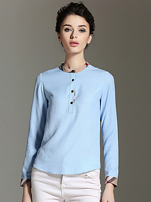 BURDULLY  Women's Work Simple Spring BlouseSolid Stand Long Sleeve Blue / Pink / White Linen Medium