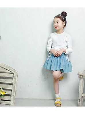 Girl's Casual/Daily Solid TeeCotton / Polyester Spring / Fall Green / White