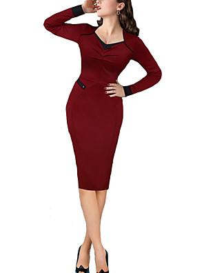 סתיו / חורף פוליאסטר אדום / ירוק שרוול ארוך עד הברך לב (סוויטהארט) אחיד סקסי / פשוטה עבודה שמלה צינור נשים,גיזרה בינונית (אמצע)