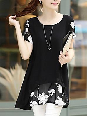 קיץ כותנה לבן / שחור שרוולים קצרים מיני צווארון עגול פרחוני סקסי יום יומי\קז'ואל / מידות גדולות שמלה מיקרו-אלסטי דק