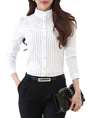 Mulheres Camisa Casual Plus Sizes Primavera,Sólido Branco Poliéster Colarinho Chinês Manga Longa Média