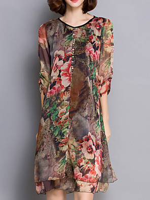 Women's Chinoiserie Print Plus Size Dress,V Neck Knee-length Silk