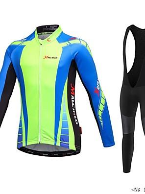 MALCIKLO® חולצת ג'רסי וטייץ ביב לרכיבה לגברים שרוול ארוך אופנייםנושם / ייבוש מהיר / רוכסן קדמי / לביש / חדירות גבוהה לאוויר (מעל 15,000