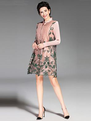 סתיו / חורף משי ורוד / שחור / ירוק שרוול ארוך מעל הברך צווארון עגול רקמה וינטאג' / פשוטה ליציאה / יום יומי\קז'ואל שמלה נדן נשים,גיזרה