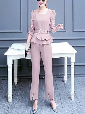 Dames Actief Herfst Set Pantalon Suits,Casual/Dagelijks Effen U-hals Lange mouw Roze / Zwart Polyester Medium