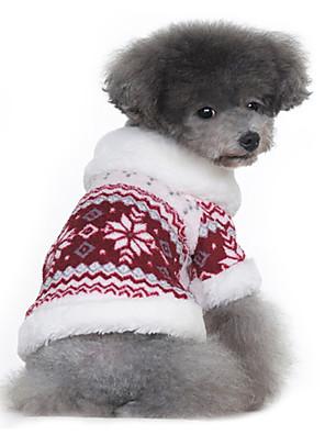Kutyák Kabátok / Jakna Piros / Fekete Kutyaruházat Tél / Tavasz/Ősz Hópehely Melegen tartani
