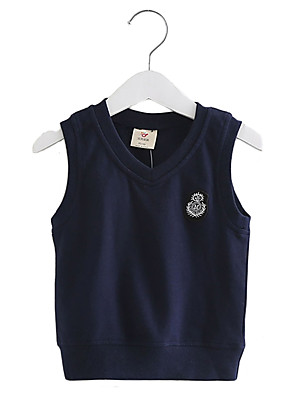 Boy's Cotton Fashion British Style Spring/Fall Casual/Daily Solid Color Fleece Gray Blue Vest