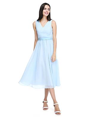 Lanting Bride® Longuette Chiffon Vestido de Madrinha - Elegante Linha A Decote V com Faixa / Fita / Drapeado Lateral / Cruzado