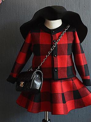 שמלה / סט של בגדים ליציאה משובץ דמקה אקריליק אביב / סתיו שחור / אדום הילדה של