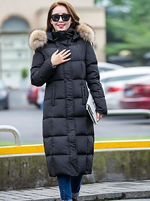 Women's Long Down Coat,Simple Casual/Daily Solid-Cotton Polypropylene Long Sleeve Hooded Black / Gray