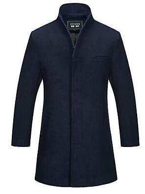 Masculino Casaco Casual Simples Inverno,Sólido Azul Lã Colarinho Chinês-Manga Longa Grossa