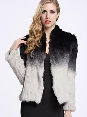 Dames Eenvoudig Winter Bontjas,Casual/DagelijksLange mouw Zwart Kleurenblok Konijnenbont