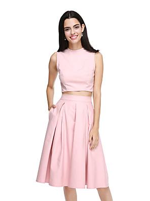 Lanting Bride® Ke kolenům Bavlna Elegantní Šaty pro družičky - A-Linie Klenot s Kapsy / Sklady
