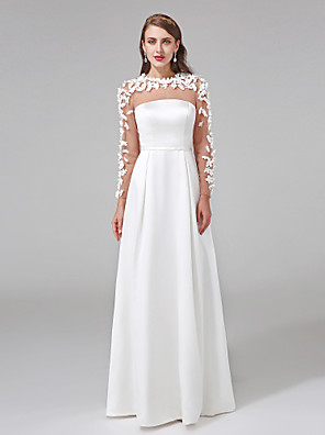 Lanting Bride® A-line Wedding Dress Floor-length Jewel Charmeuse with Button / Flower / Sash / Ribbon