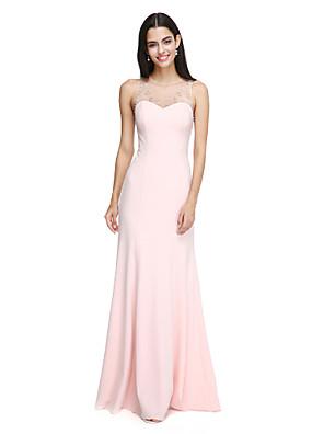 Lanting Bride® Longo Chiffon Elegante Vestido de Madrinha - Tubinho Decorado com Bijuteria com Miçangas / Detalhes em Cristal
