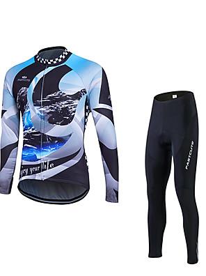 Fastcute® חולצה וטייץ לרכיבה לגברים שרוול ארוך אופנייםנושם / ייבוש מהיר / עמיד אולטרה סגול / תומך זיעה / דחיסה / 3D לוח / רצועות מחזירי