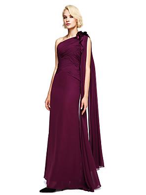 Lanting Bride® עד הריצפה שיפון שמלה לשושבינה - נשף כתפיה אחת עם חרוזים / פרח(ים)