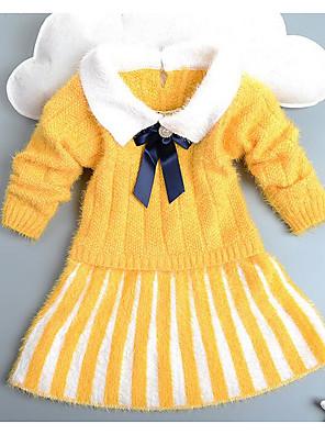 שמלה יום יומי\קז'ואל פסים אקריליק חורף / אביב / סתיו אדום / לבן / צהוב הילדה של