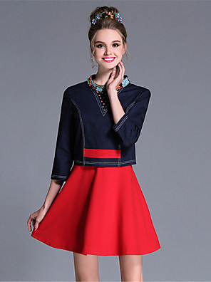 Feminino Evasê Vestido,Casual / Festa/Coquetel / Tamanhos Grandes Vintage / Simples Color Block / Patchwork Colarinho ChinêsAcima do