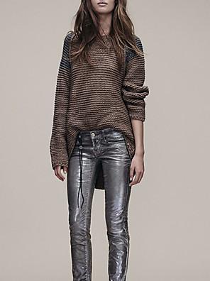 בינוני (מדיום) סתיו צמר שרוול ארוך צווארון עגול חום טלאים סגנון רחוב יום יומי\קז'ואל סוודר ארוך נשים מיקרו-אלסטי