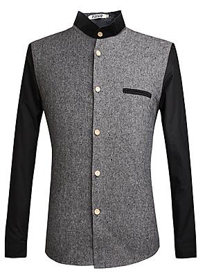 Heren Vintage / Eenvoudig / Street chic Herfst Overhemd,Uitgaan / Casual/Dagelijks / Bruiloft Patchwork Strakke ronde hals Lange mouw