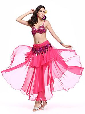 Dança do Ventre Roupa Mulheres Actuação Elastano / Poliéster Pano 3 Peças Saia / Conjuntos de Sutiã e Calcinhas / Cinto 90cm