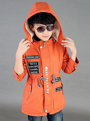 Boy's Casual/Daily Print / Patchwork Trench Coat,Cotton Spring / Fall Green / Orange