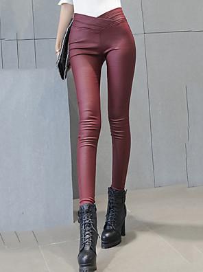 Kvinders Sexet / Street Tætsiddende Bukser Elastisk PU