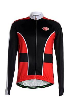 ספורטיבי חולצת ג'רסי לרכיבה לגברים שרוול ארוך אופניים נושם / שמור על חום הגוף / רוכסן קדמי / כיס אחורי / בד קל מאוד ג'רזיפוליאסטר / גיזות