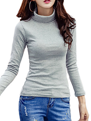 Dames Eenvoudig / Street chic Herfst / Winter T-shirt,Uitgaan / Casual/Dagelijks Effen Coltrui Lange mouw Blauw / Wit / Zwart / Grijs