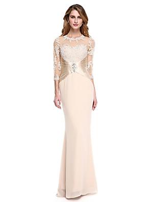 Lanting Bride® בתולת ים \ חצוצרה שמלה לאם הכלה - שקוף עד הריצפה שרוול 4\3 שיפון / סאטן נמתח - אפליקציות / חרוזים / קפלים