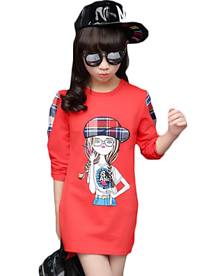 Girl Casual/Daily Solid Tee,Cotton Winter Long Sleeve Regular