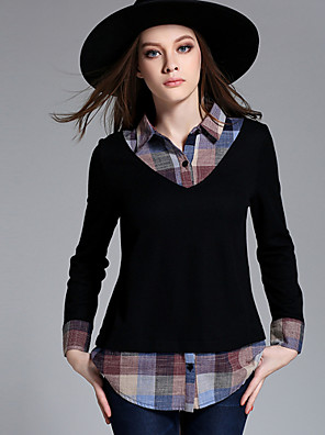 MEIDONGTAI Women's Plus Size / Casual/Daily Simple Regular Pullover Black Shirt Collar Long Sleeve Rayon / Polyester Fall / Winter