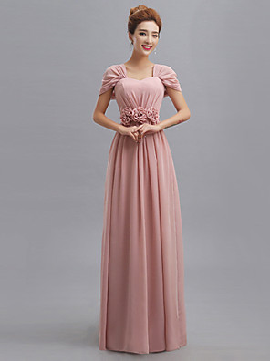Floor-length Chiffon Mix & Match Sets Bridesmaid Dress - Sheath / Column V-neck with Flower(s) / Side Draping / Bandage