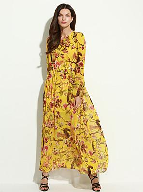 פוליאסטר מקסי צווארון עגול קצר פרחוני שמלה סווינג קז'ואל נשים