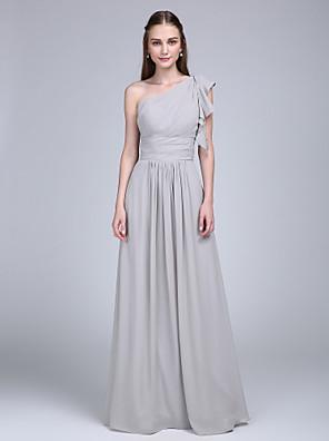 Lanting Bride® עד הריצפה שיפון שמלה לשושבינה - מעטפת \ עמוד כתפיה אחת עם קפלים / בד נשפך בצד / סלסולים