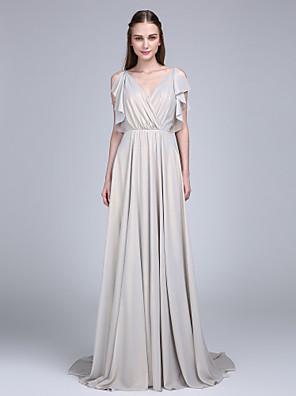 2017 לנטינג bride® שמלת השושבינה לטאטא / מברשת רכבת שיפון - א-קו צווארון V עם כפתורים