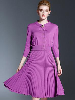 Dames Vintage / Eenvoudig Rok Suits,Casual/Dagelijks Effen Ronde hals Driekwart mouw Paars Polyester / Nylon