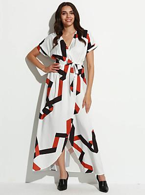 קיץ פוליאסטר לבן אורך חצי שרוול מקסי צווארון V דפוס סגנון רחוב ליציאה שמלה סווינג נשים,גיזרה בינונית (אמצע) מיקרו-אלסטי