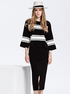 Dames Eenvoudig Herfst Set Rok Suits,Casual/Dagelijks Gestreept Ronde hals Driekwart mouw Rood / Zwart Katoen / Polyester Medium
