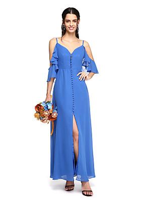 Lanting Bride® באורך הקרסול שיפון פורקל שמלה לשושבינה - מעטפת \ עמוד רצועות ספגטי עם כפתורים / קפלים / שסע קדמי