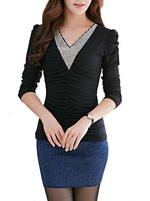 אחיד צווארון V סגנון רחוב ליציאה / יום יומי\קז'ואל / מידות גדולות חולצה נשים,סתיו / חורף שרוול ארוך שחור / ירוק דק כותנה / פוליאסטר