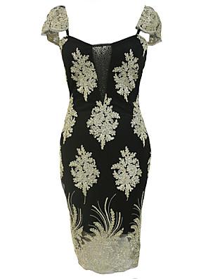 Women's Club Sexy Bodycon Dress,Print Round Neck Knee-length Sleeveless Black Polyester All Seasons Mid Rise Micro-elastic Medium