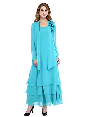 Lanting Bride® גזרת A שמלה לאם הכלה  - שני חלקים באורך הקרסול שרוול ארוך שיפון  -  חרוזים / פרח(ים) / פרנזים