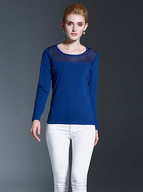 FRMZ  Women's Casual/Daily Simple Fall / Winter T-shirtSolid Round Neck Long Sleeve Blue Cotton Opaque