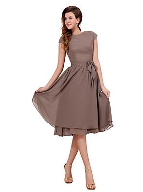 Ke kolenům Šifón Retro inspirované Šaty pro družičky - A-Linie Klenot s Šerpa / Stuha