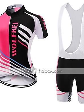 ספורטיבי חולצת ג'רסי ומכנס קצר ביב לרכיבה לנשים שרוול קצר אופנייםנושם / ייבוש מהיר / עמיד לאבק / לביש / דחיסה / כיס אחורי / נמתח / תומך