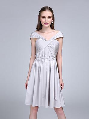 Lanting Bride® Ke kolenům Úplet Šaty pro družičky - A-Linie Spadlý s Křížení / Sklady
